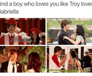 high school musical, troy, and gabriella image