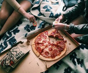 pizza, food, and friends image