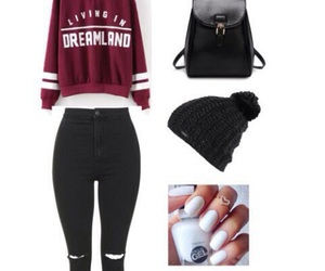 maroon, outfit, and shoes image