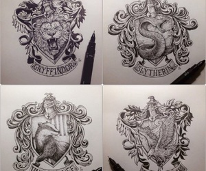 drawings, harry potter, and hogwarts image