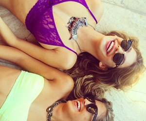 model, purple bra, and friends image