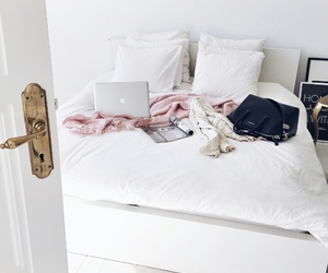 room, bed, and white image