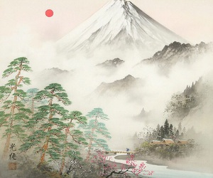 art, japan, and mountain image