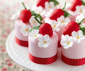 strawberry, cake, and pink image
