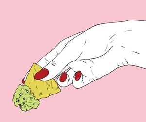 pink, hand, and nachos image
