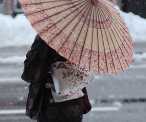 japan, kimono, and snow image