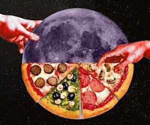 pizza, space, and stars image