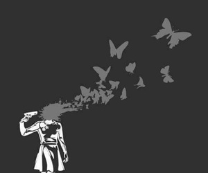 butterfly, gun, and suicide image