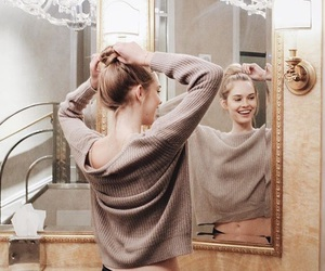 hairstyle, blond, and bun image