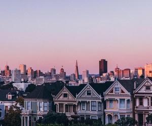 city, house, and sky image