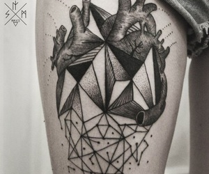 tattoo, heart, and geometric image
