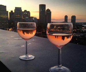 city, drink, and sunset image