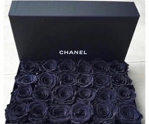 chanel, black, and flowers image
