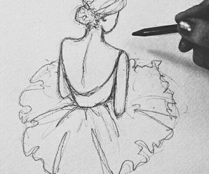 ballerina, draw, and girl image
