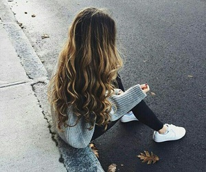 girl, long, and ombre image