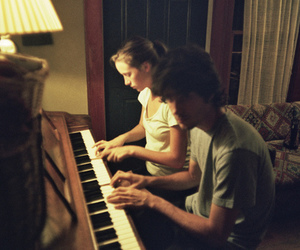 couple, piano, and boy image