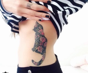tattoo, cat, and flowers image