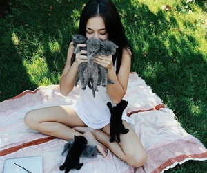animals, girl, and cat image