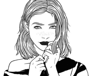 girl, outline, and drawing image