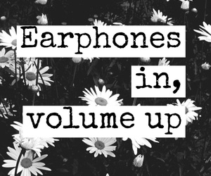 music, earphones, and quote image