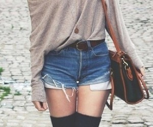 fashion, high waisted shorts, and oversize sweater image