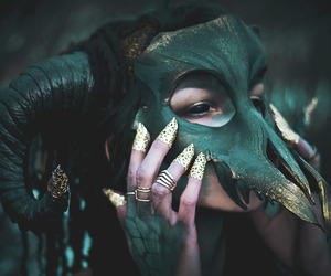 green, mask, and aesthetic image