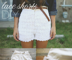 diy, shorts, and lace image