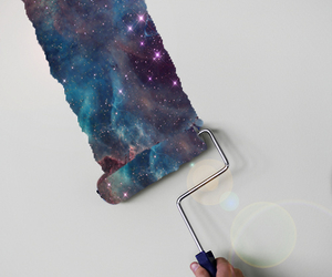 galaxy, paint, and wall image