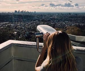 girl, sky, and town image