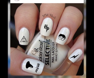 harry potter, hp, and nail arts image