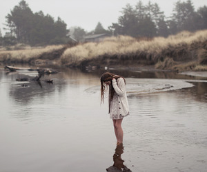 beach, fog, and water image