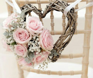 heart, flowers, and wedding image