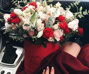 car, woman, and flowers image