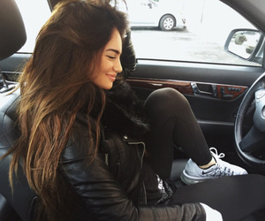 hair, car, and brunette image