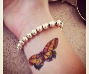 arm, bracelet, and butterfly image