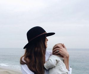 baby, hat, and mom image