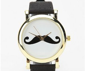 watch, mustache, and style image