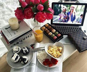chanel, flowers, and food image