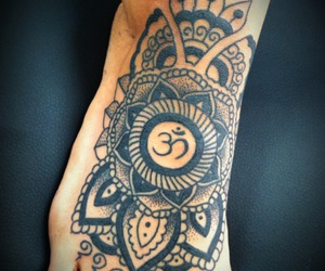 tattoo, feet, and om image