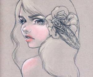 drawing, flower, and girl image