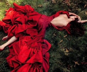 red, dress, and red dress image