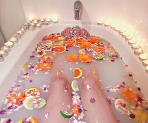 bath, flowers, and fruit image