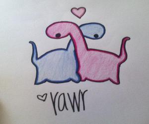 dino, cute, and love image