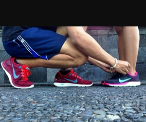 couple, nike, and running image