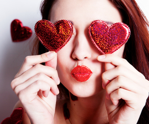 red, heart, and hearts image