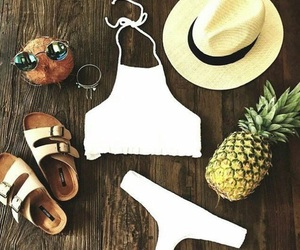 coconut, straw hat, and pineaple image