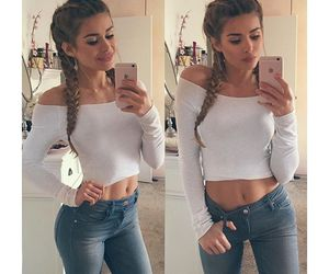 hair, jeans, and style image