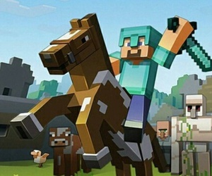 horse, minecraft, and steve image