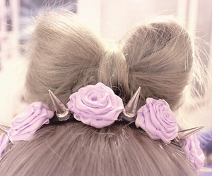 hair, bow, and rose image