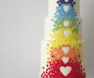 cake, hearts, and rainbow image